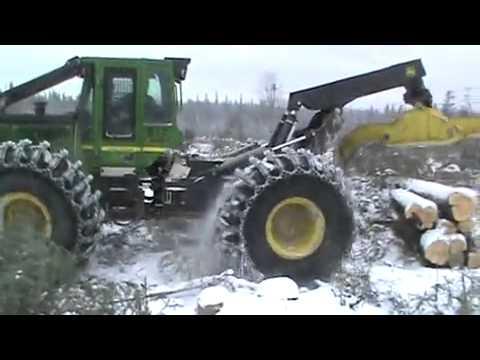 Skidder John Deere 848H - ECO-Wheel Tracks - YouTube