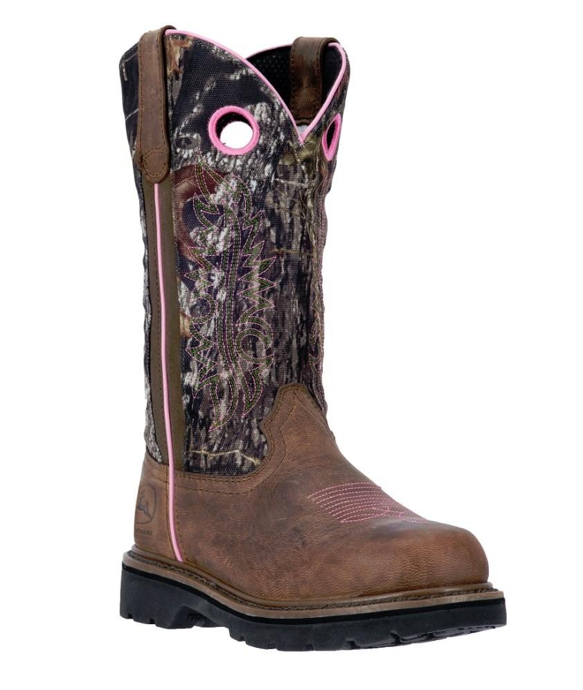 John Deere Womens Dark Brown/Mossy Oak Camo 11' Pull On Boots JD3298 ...