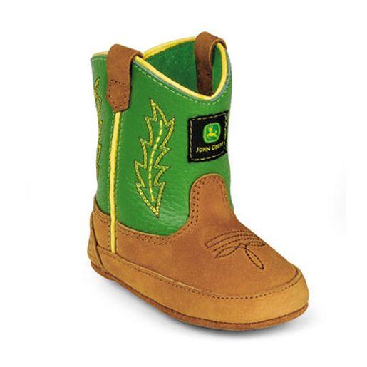 Johnny Popper Green/Tan Crib Sized Wellington Boot