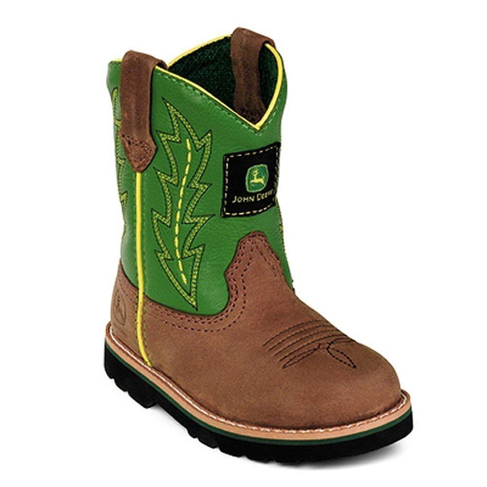 John Deere Boys Girls Green Leather Western Boots Baby Toddler 4-8 ...