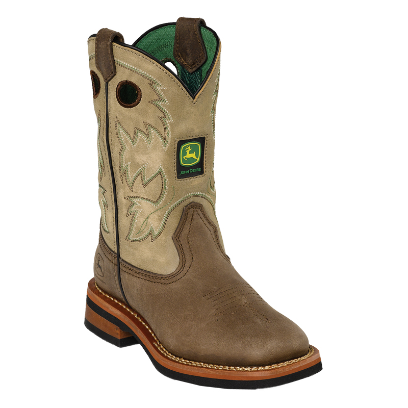 Details about John Deere Youth Boys Tan Sanded Leather Square Toe Pull ...