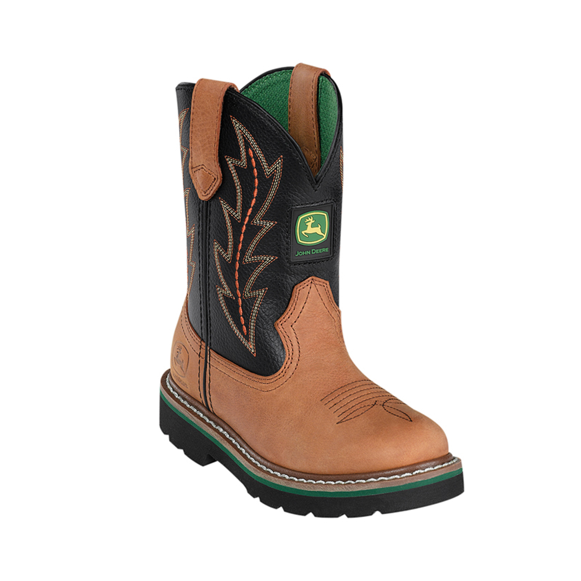 ... about John Deere Youth Boys Black Leather Classic Pull-On Cowboy Boots