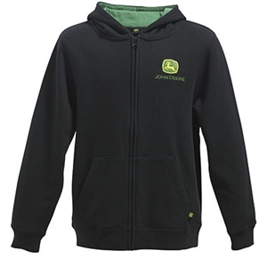 John Deere Youth Boy's Black Full Zip Hooded Sweatshirt | WeGotGreen ...