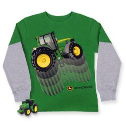 John Deere Boys Green/Grey Two Layer Tractor T-Shirt With Toy $24.99