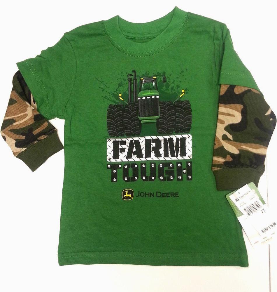 NEW John Deere Green Layered Camo Long Sleeve T-Shirt Farm Tough 12 18 ...