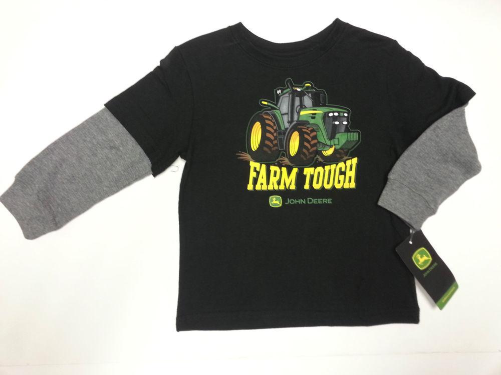 NEW John Deere Long Sleeve Layered Look Black Farm Tough T-Shirt Size ...