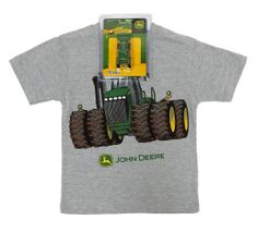 John Deere Heather Grey Tee with 4WD Tractor on Front Toddler / Juvy