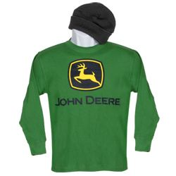 Youth Classic Green John Deere Logo Long Sleeve Thermal Shirt with ...