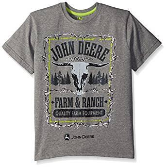 John Deere Big Boys' Farm and Ranch Tee, Medium Heather Grey, 16 ...