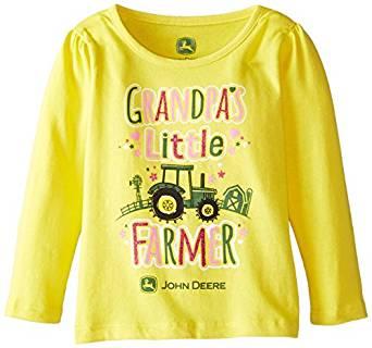 Amazon.com: John Deere Baby Girls' Grandpa's Little Farmer T Shirt ...