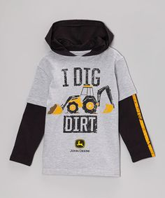 ... Gray 'I Dig Dirt' Layered Tee - Boys by John Deere on #zulily today