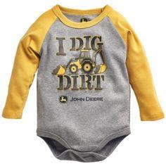 the John Deere Infant I Dig Dirt Bodyshirt - Gray/Yellow by John Deere ...