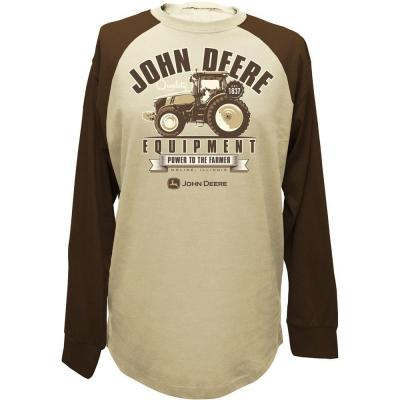 John Deere Men's Raglan Baseball Style Long Sleeve Tee Shirt in Brown ...
