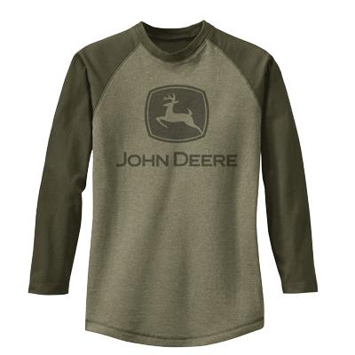 ... John Deere Adult T-Shirts > John Deere Heathered Longsleeved Raglan T