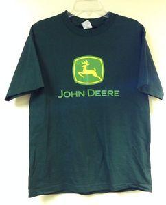 John Deere t shirt mens Medium Dark green short sleeve logo tractor ...
