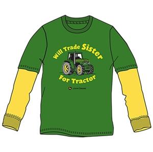 Boys Green Long Sleeve John Deere Shirt