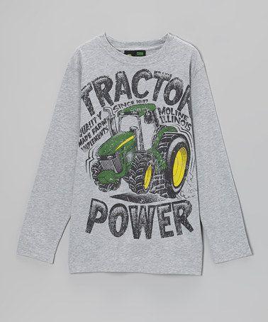 ... Gray 'Tractor Power' Long-Sleeve Tee - Boys by John Deere on #zulily