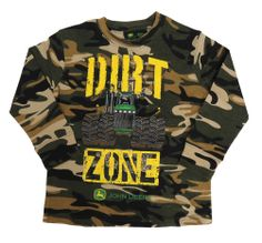 John Deere Camo `DIRT ZONE` Long Sleeve Juvy Tee Shirt