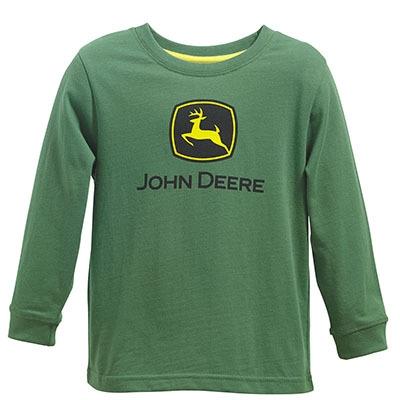 John Deere Toddler Boy's Green Logo Long Sleeve Shirt   WeGotGreen.com