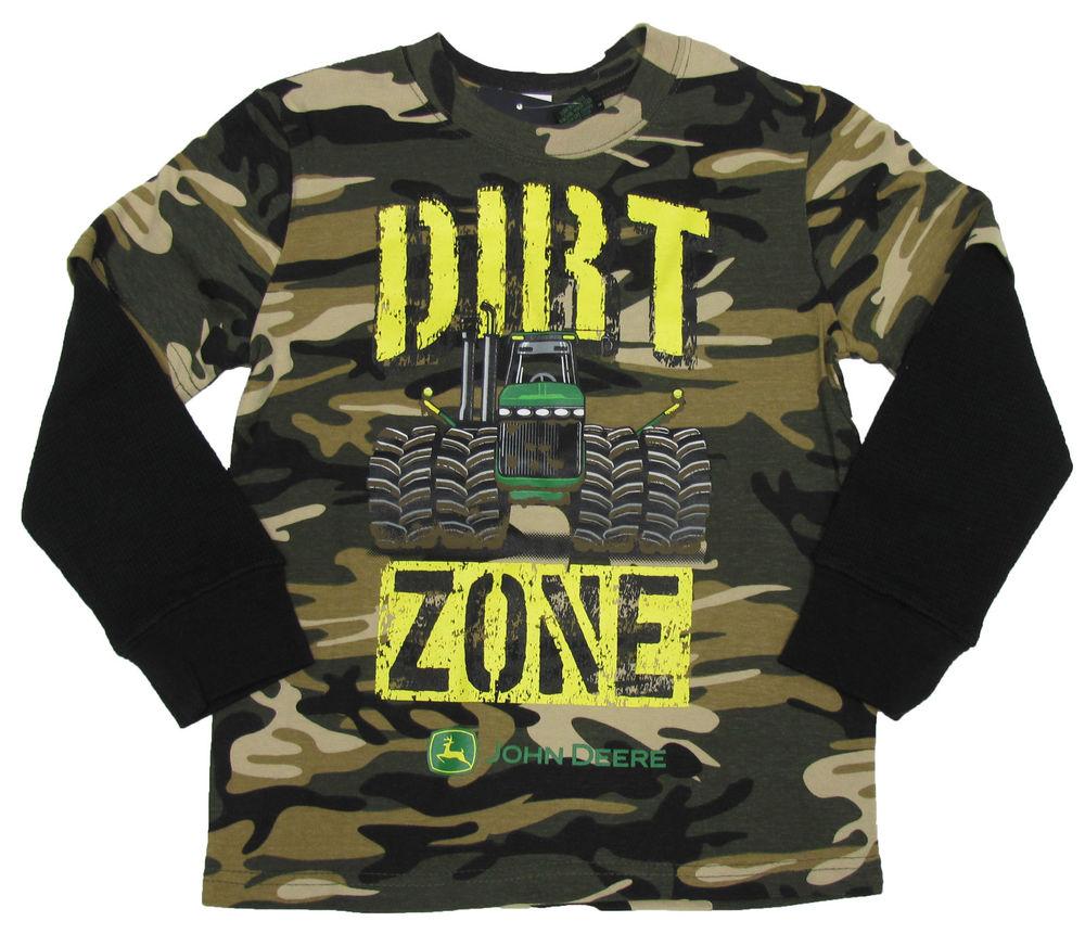 John Deere Boys Dirt Zone Tee Shirt Green Camo Long Sleeve T-shirt ...