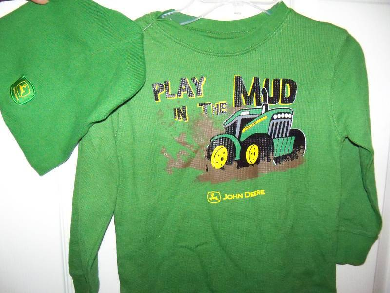 John Deere Tractor Play In The Mud Green Thermal Shirt & Hat Boys Size ...