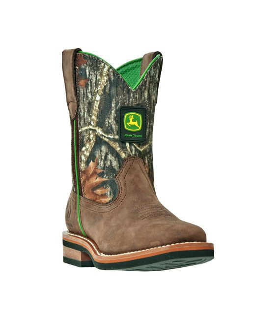 John Deere Child's Classic Square Toe Pull-On Boot - Mossy Oak