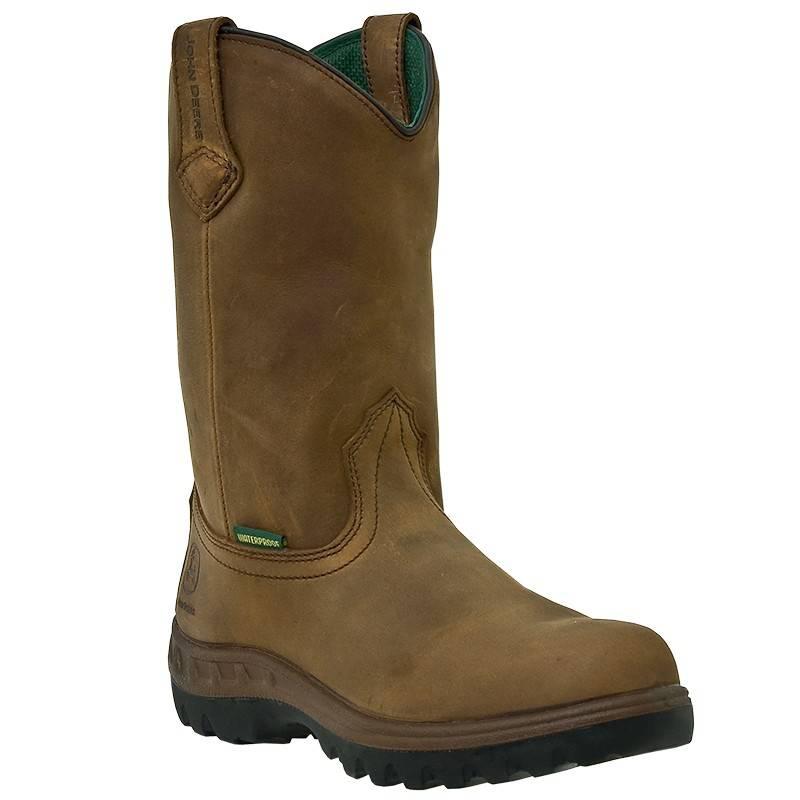 John Deere Mens 12 Inch WCT Waterproof Steel Toe Pull On Work Boots