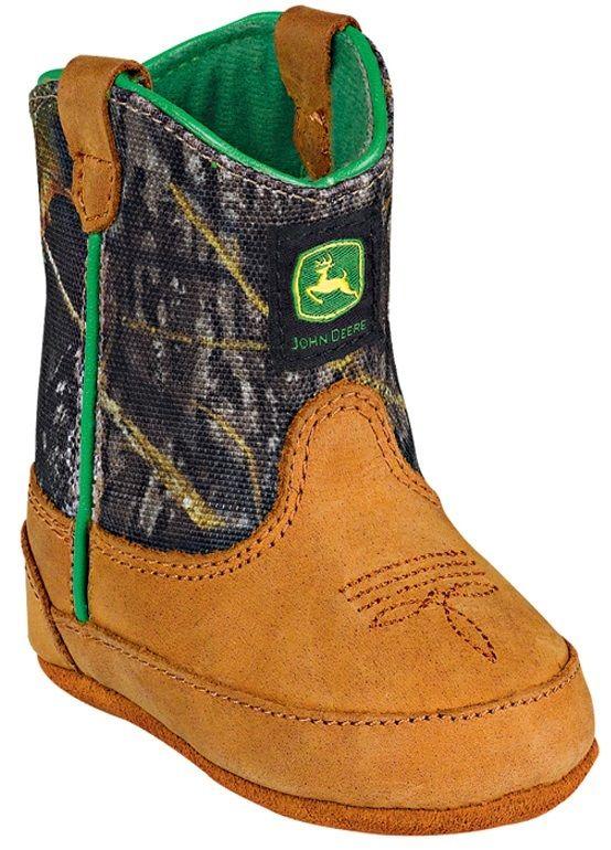 John Deere Infant Crib Mossy Oak Leather Pull Up Boots Tan/Camo JD0188 ...
