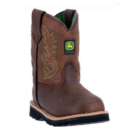 John Deere Western Boots Boys Kids Round Toe Steel Shank Brown JD2034 ...