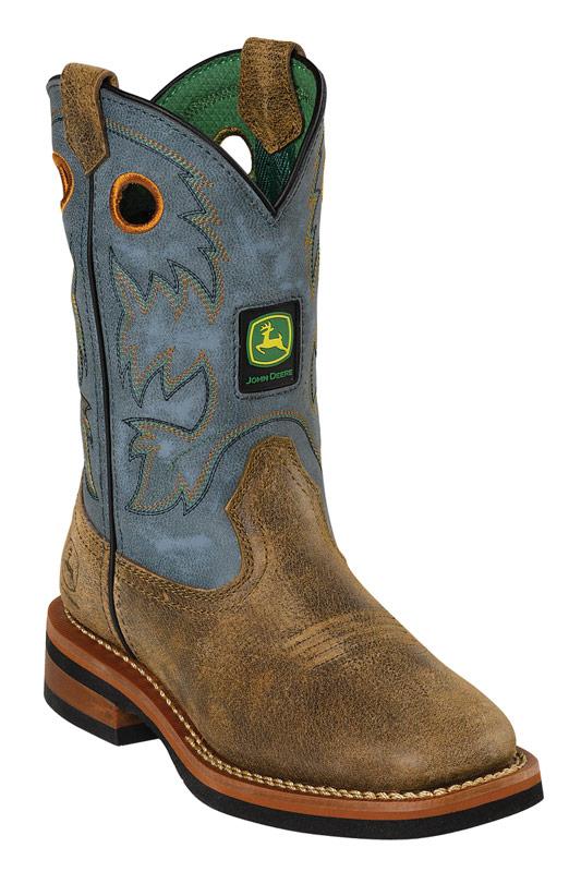 John Deere Johnny Popper Childrens Square Toe Cowboy Boots - Sanded ...