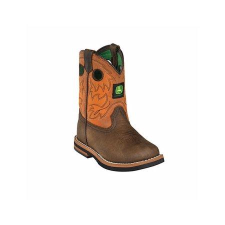John Deere Western Boots Boys Kids Round Toe Dark Brown Rust JD1319 ...
