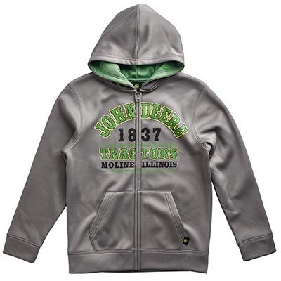 John Deere Youth Boy's Gray 1837 Full Zip Hooded Sweatshirt ...