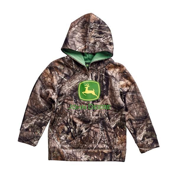 John Deere Toddler Boys' Mossy Oak Hooded Fleece Pullover