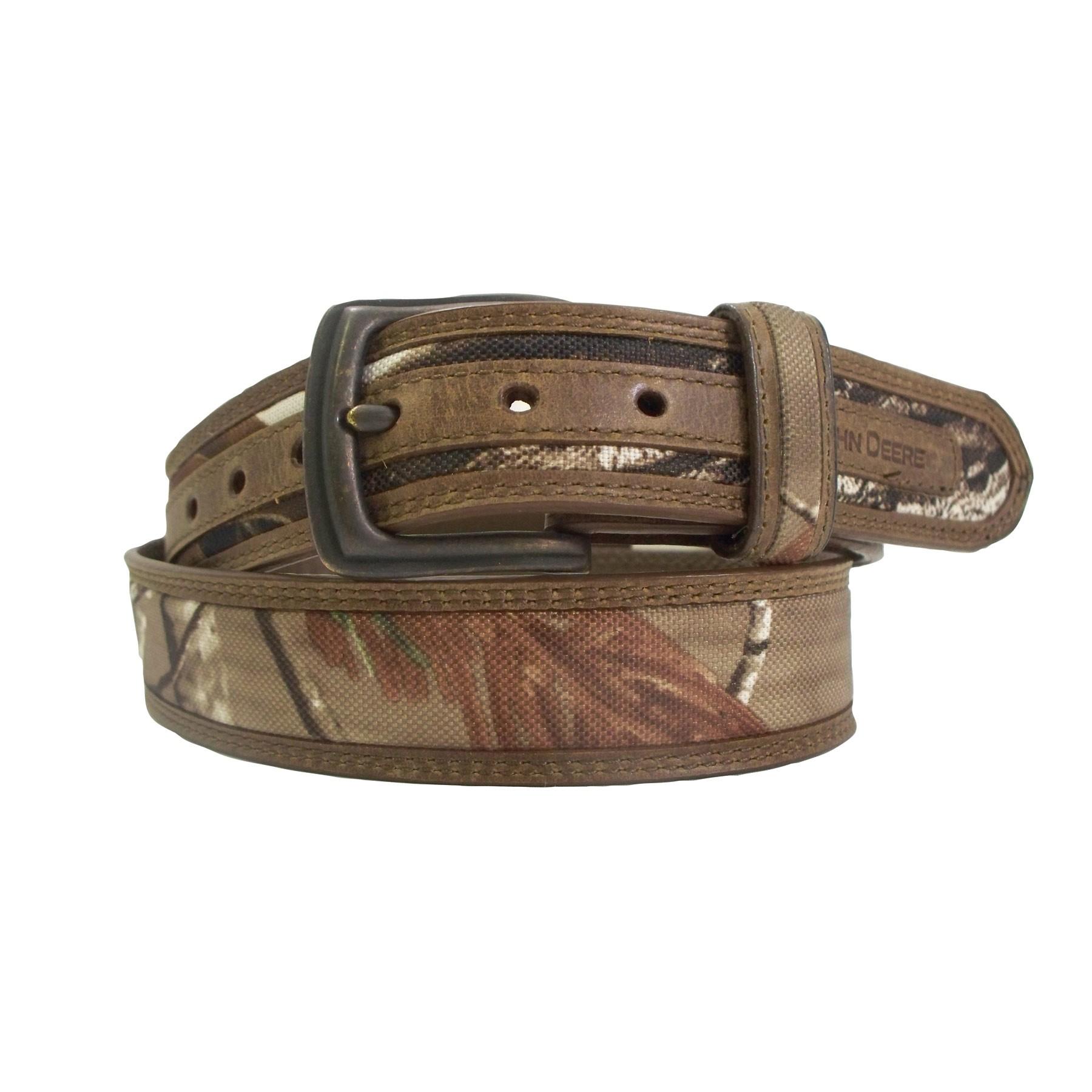 ... buff tan leather combine to make a great-looking boys John Deere belt
