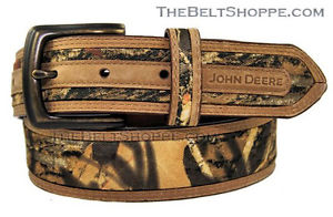 John Deere Camouflage / Camo Brown Leather Belt - Sizes 34 - 46 (New w ...
