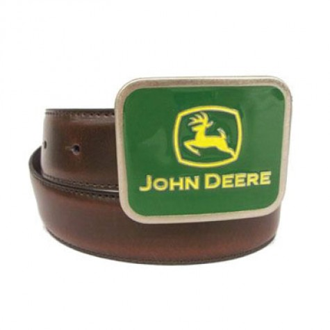John Deere logo buckle is prominently featured on this brown leather ...