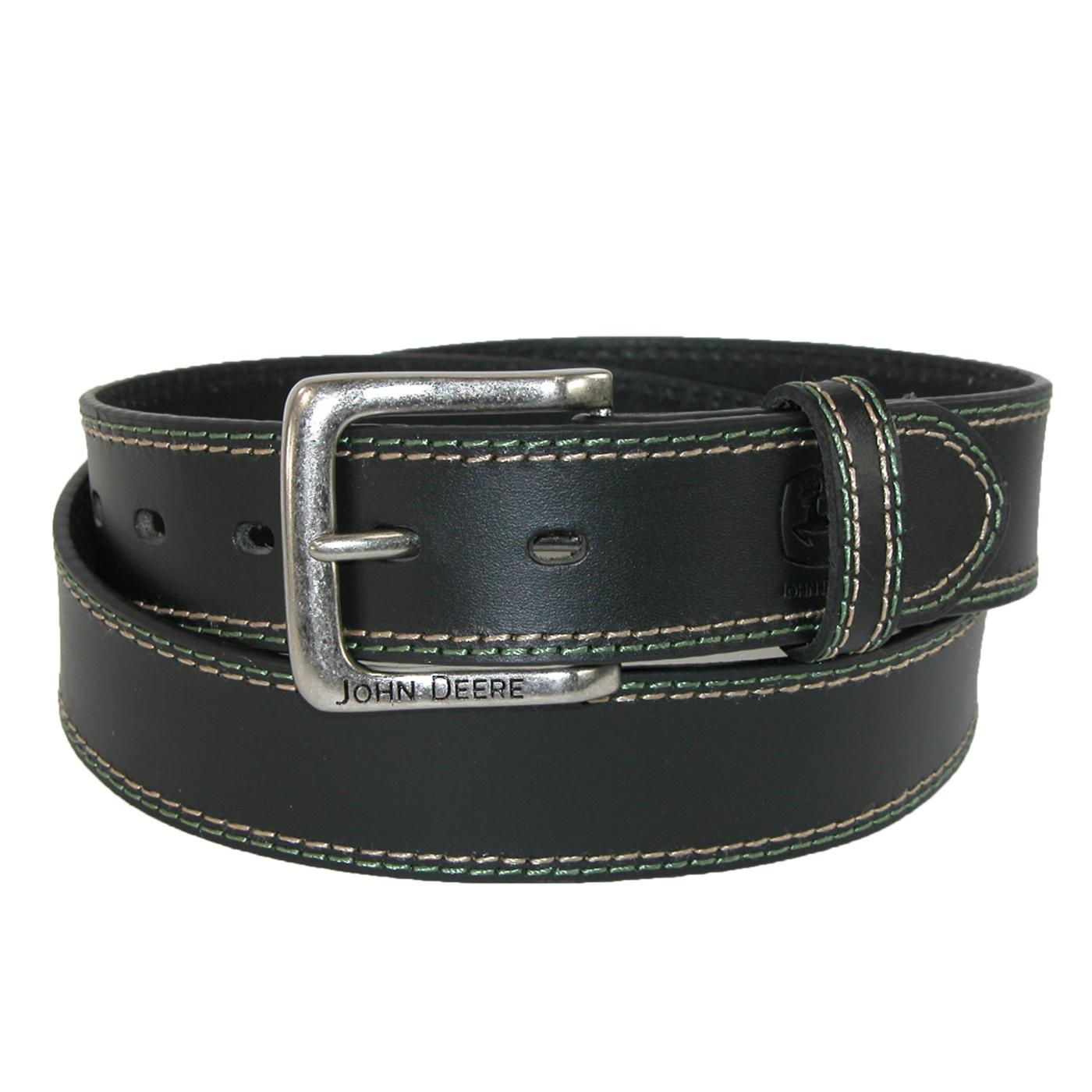 Mens Buffalo Leather 1.5 Inch Bridle Belt with Contrast Stitch by John ...