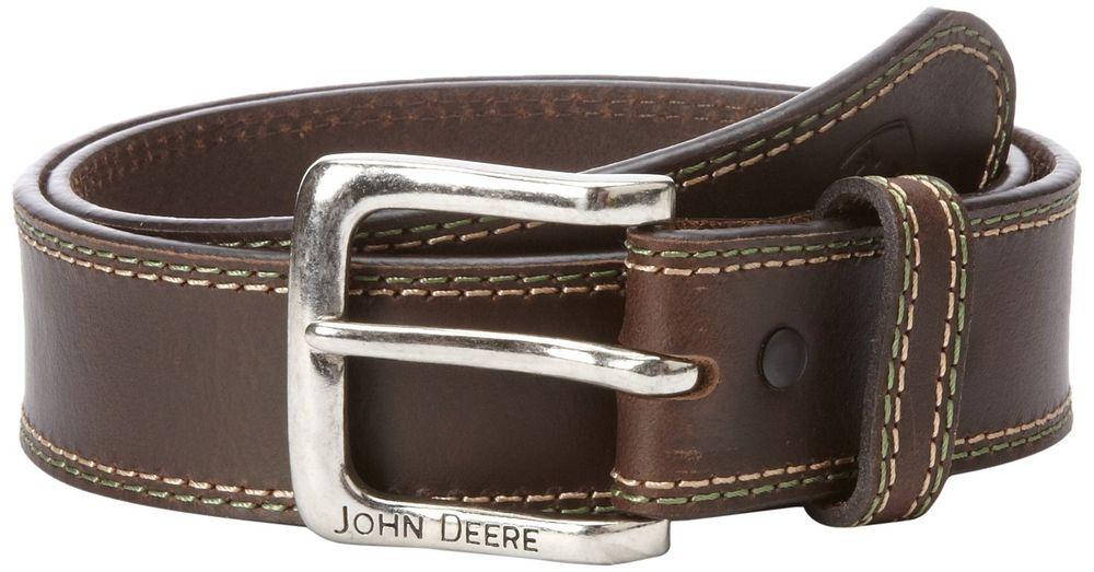 John Deere Men's Brown Genuine Buffalo Leather Belt w/Removable Buckle ...