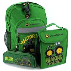 John Deere 16 inch Backpack Lunch Bag and Pencil Pouch Set #JohnDeere ...