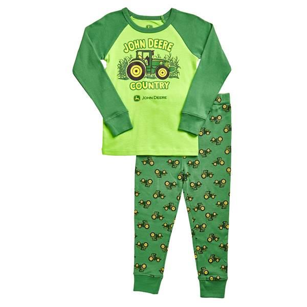John Deere Toddler Boys' Lime & 2-Piece JD Country Pajamas Set