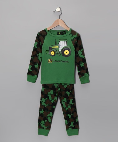 Green Camouflage Tractor Pajama Set by John Deere Boys on #zulily ...