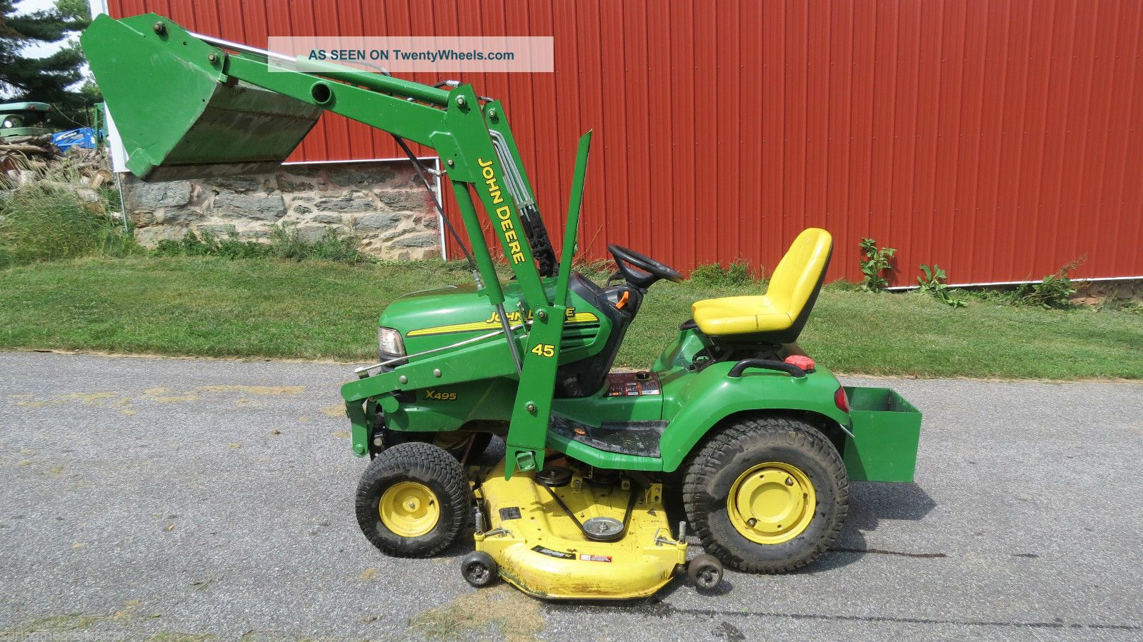 2004 John Deere X495 Garden Tractor W/ Loader Belly Mower ...