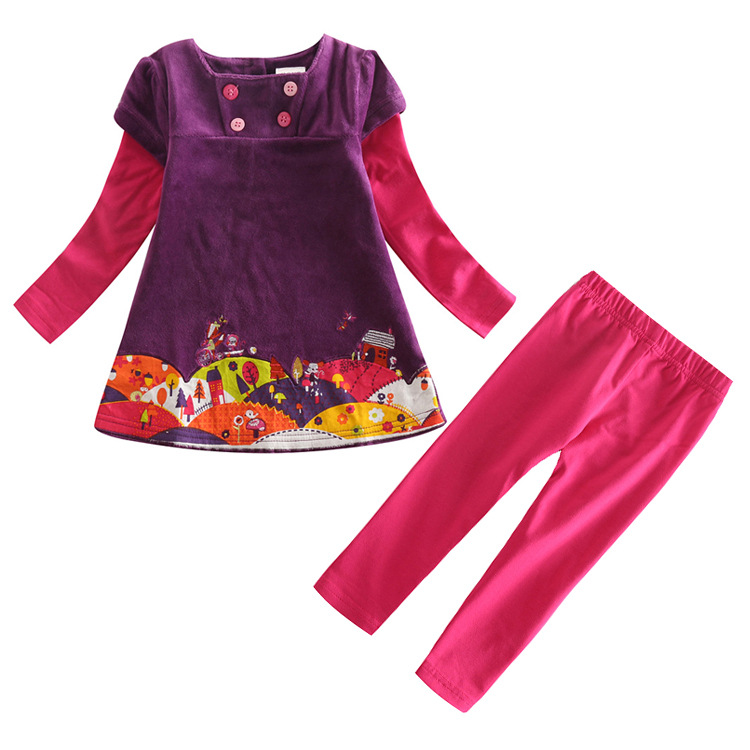 free shipping purple kid Clothing set for girls all for ...
