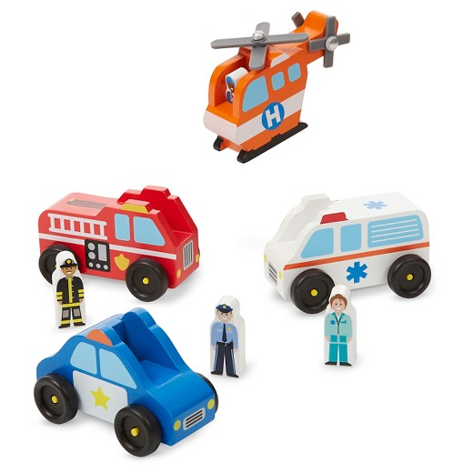 Melissa & Doug® Emergency Vehicle Wooden Play Set With 4 ...