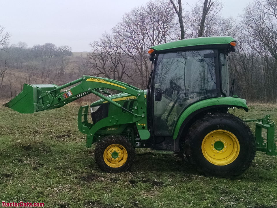 John Deere 3039R with cab and H165 front-end loader. Photo courtesy of ...