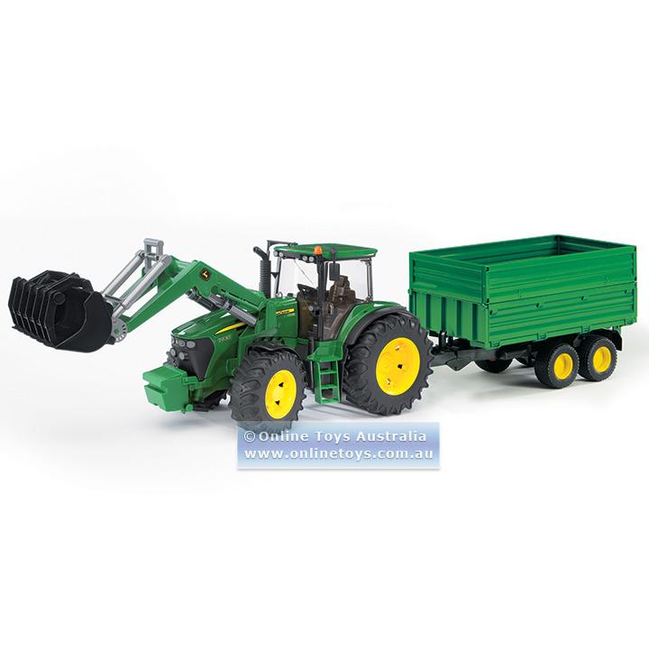 Bruder - John Deere 7930 Tractor with Front Loader & Tandem Trailer ...