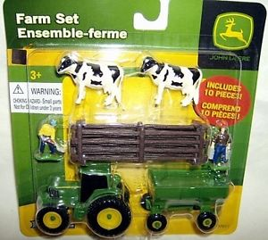 Details about ertl 1/64 JOHN DEERE TRACTOR FLARE BOX WAGON COWS FIGS