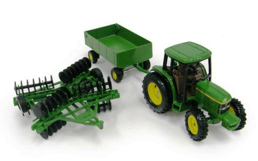 JOHN DEERE 6410 TRACTOR WITH BARGE WAGON & WING DISK 1:32 SCALE ERTL ...